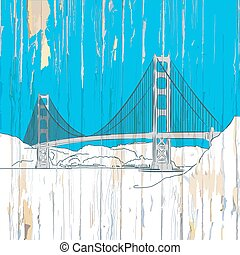 Golden gate bridge drawing on wood. Vector illustration on...