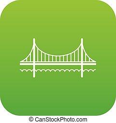 Golden gate bridge icon green vector isolated on white...