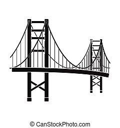 Golden Gate Bridge icon in black style isolated on white...