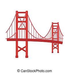 Golden Gate Bridge icon in cartoon style isolated on white...