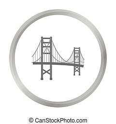 Golden Gate Bridge icon in monochrome style isolated on white background. USA country symbol stock vector illustration.