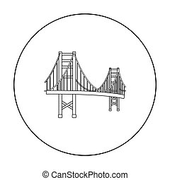 Golden Gate Bridge icon in outline style isolated on white background. USA country symbol stock vector illustration.