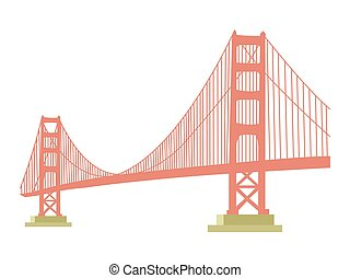 Golden Gate bridge icon isolated on white background