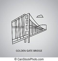 Golden Gate Bridge icon on grey background. USA, San Francisco. Line icon