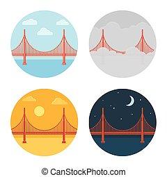 Golden Gate Bridge icon set. San Francisco in different time...