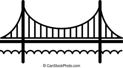 Golden gate bridge icon, simple black style