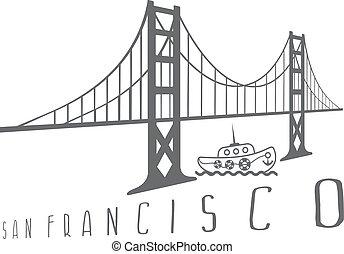 golden gate bridge in san francisco and boat vector design illustration