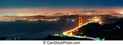 Golden Gate Bridge in San Francisco at night panorama viewed...