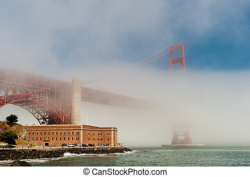Golden Gate Bridge in the fog.