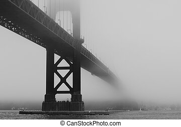 Golden Gate Bridge in the Fog Viewed From Hoppers Hands at Fort Point in Black and White