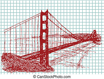 golden gate bridge in the red color