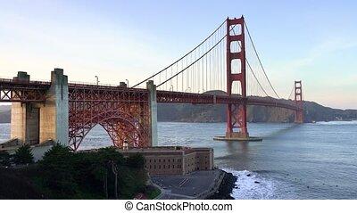 Golden Gate Bridge on sky background in San Francisco -...