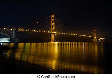 Golden Gate Bridge over San Francisco Bay at Night
