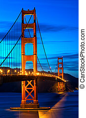 Golden Gate Bridge at sunset, San Francisco, US