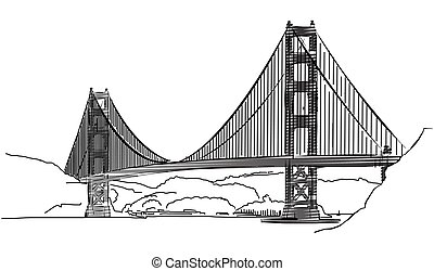 Golden Gate Bridge, San Francisco, Outline Sketch