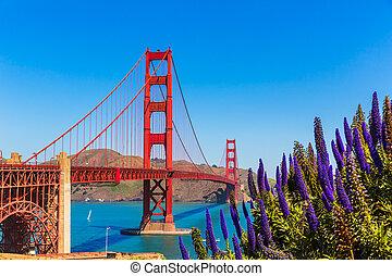 Golden Gate Bridge San Francisco purple flowers California...