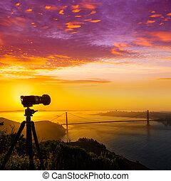 Golden Gate Bridge San Francisco sunrise California USA with...