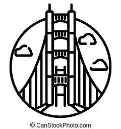 Golden Gate Bridge, San Francisco, USA. Isolated on white background vector illustration.