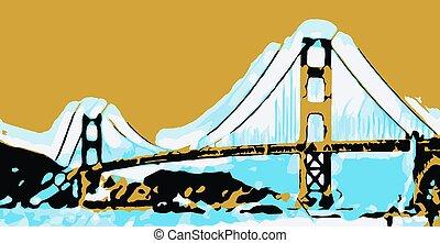 Golden Gate bridge San Francisco with sunset sky