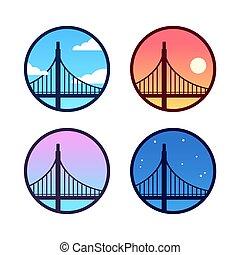 Golden Gate Bridge set - Golden Gate Bridge icon set with...