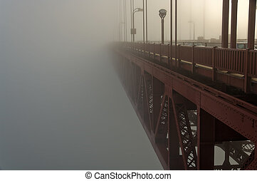 Golden Gate Bridge sticks up through the fog - North tower...