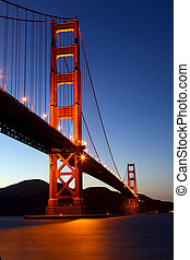Golden Gate Bridge at dusk, San Francisco, California