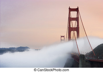 golden gate bridge - fog rolling in over the golden gate...