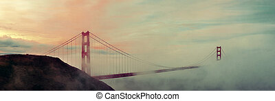 Golden Gate Bridge and fog panorama in San Francisco