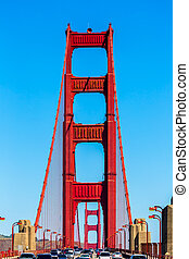 Golden Gate Bridge traffic in San Francisco California USA