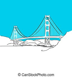 Golden Gate Bridge, vector, Blue Series, Hand-drawn Vector...