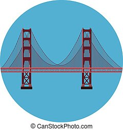 Golden Gate bridge - Vector illustration San Francisco...