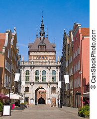 Golden gate in old town, Gdansk, Poland