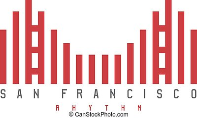 Golden Gate of San Francisco rhythm style vector illustration