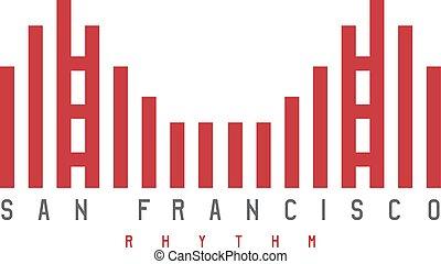 Golden Gate of San Francisco rhythm style vector illustration