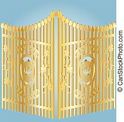 golden gate - on a blue background gold wrought-iron gates