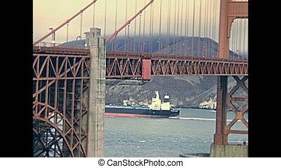 Golden Gate panorama - Archival eighties Golden Gate Bridge,...