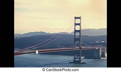 Golden Gate traffic - Car traffic in eighties of Golden Gate...