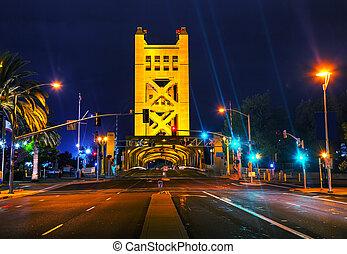 Golden Gates drawbridge in Sacramento at the night time
