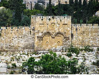 Golden gates of Jerusalem on the east wall of the old town