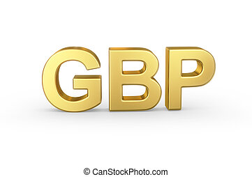 Golden GBP currency shortcut on white