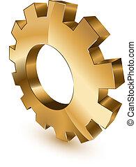 Golden gear wheel - 3d golgen gear wheel symbol on white...