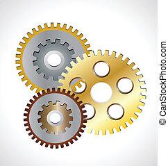 Golden gear wheels logo - Golden gear wheels working concept...