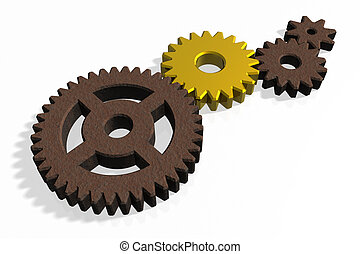Golden gear within rusty ones