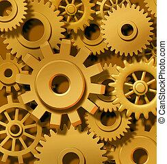 Golden Gears Background - Golden gears in motion as cogs...