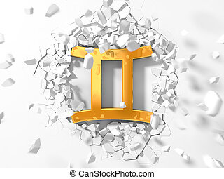 golden gemini symbol hitting to wall and flying pieces...