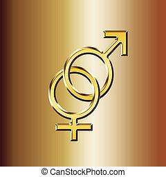 golden gender male and female symbol - 3d illustration