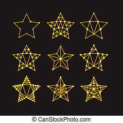 Golden geometric stars in the art deco style, varying degrees of detail. Modern design. Vector illustration
