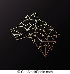 Golden geometric Wolf head illustration isolated on black background.