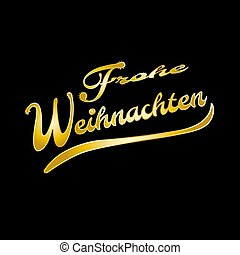 Golden German words Merry Christmas