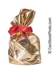 Golden gift bag with a red bow